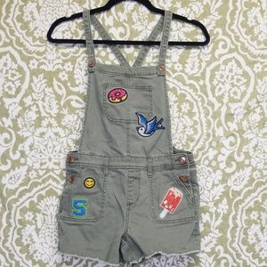 Cat & Jack Green Overalls Patches Sz L Bird Donut